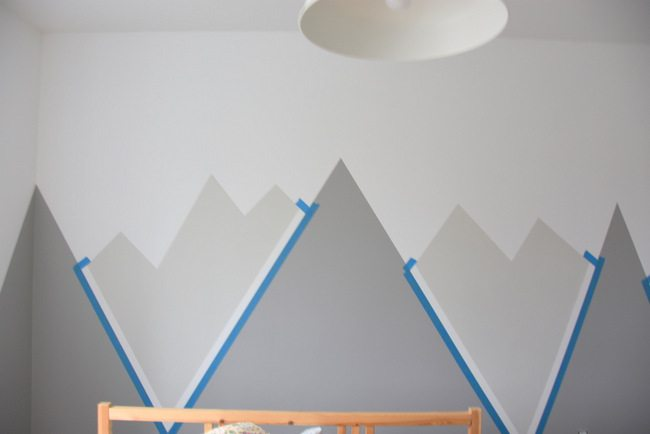 How to paint a diy nursery mountain mural no art skills for Diy mountain mural