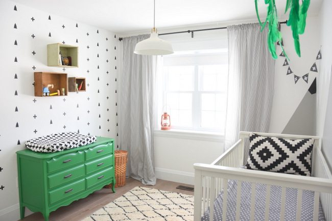 How to create a black and white nursery accent wall the for Black white and lime green bedroom ideas