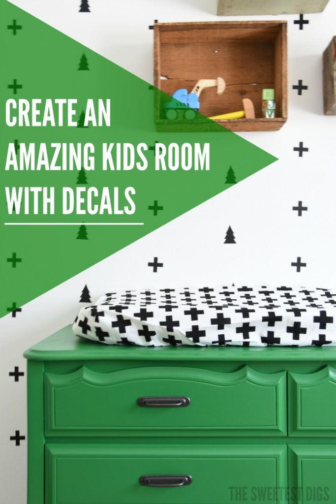 Diy nursery creating a black and white scandi style decal for Black and white and green bedroom ideas