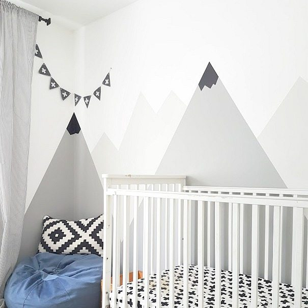 What Kind Of Paint Do I Use In A Bathroom: How To Paint A DIY Nursery Mountain Mural (No Art Skills