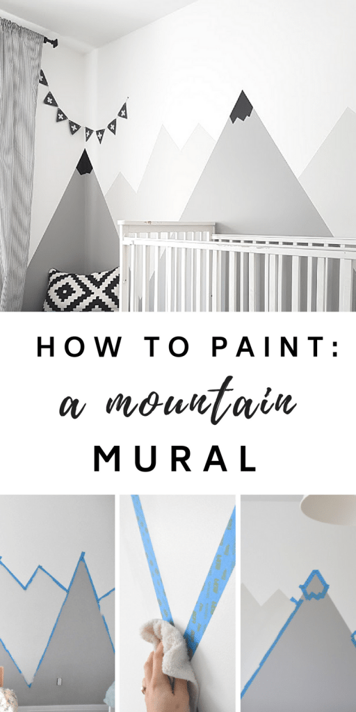 Nursery Mountain Mural - How to paint a #DIY #mountain #mural for a #kids #room or #nursery. Big impact on a budget! Great nursery decorating idea.