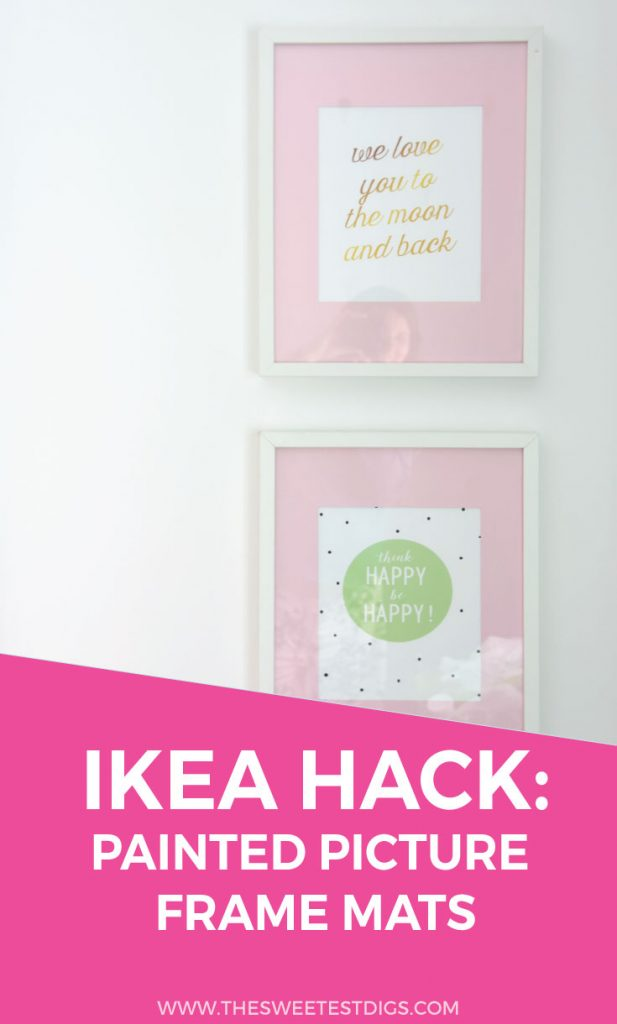 Want to hack IKEA Ribba frames? Paint the mats a color! An easy DIY project that will customize your frames instantly and make your artwork pop. Click through for the tutorial.