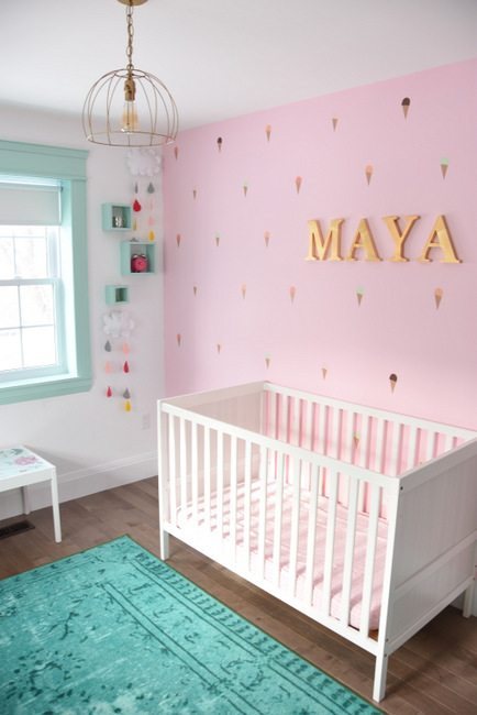 a baby girl 39 s mint and pink nursery the sweetest digs. Black Bedroom Furniture Sets. Home Design Ideas