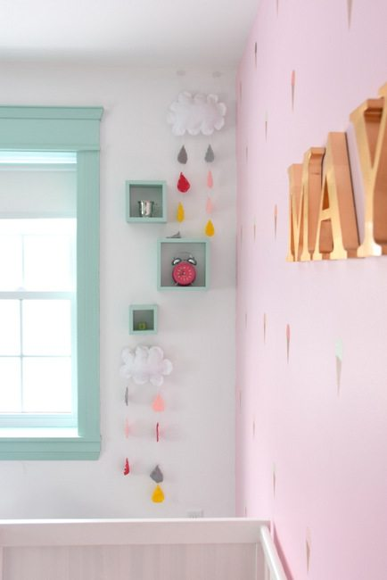 Decorating a baby girls nursery - This mint and pink room is all kinds of sweet with tons of DIY project ideas and budget-friendly decor items.5