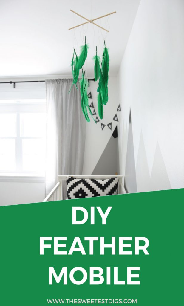 Make this DIY feather mobile in under 10 minutes! It costs less than $10 with supplies from amazon or the dollar store. Perfect for a nursery or kids room, or give as a handmade baby shower gift. Click over to the blog post for the how-to tutorial.