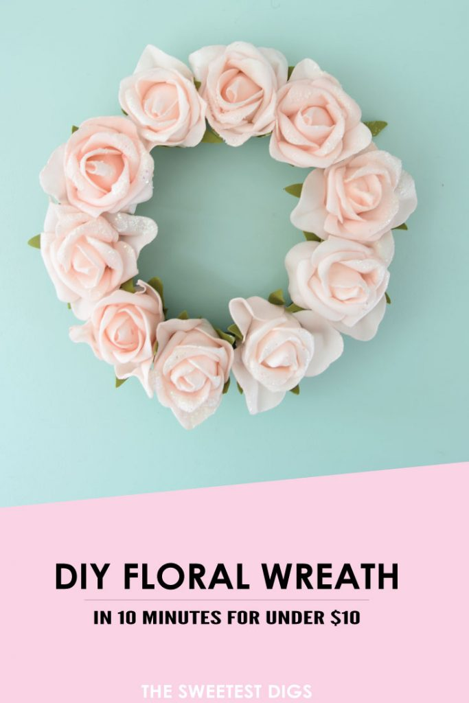Want to make a spring or summer wreath - This sweet pink floral wreath is a simple DIY project using dollar store materials. Click through for the how-to tutorial!