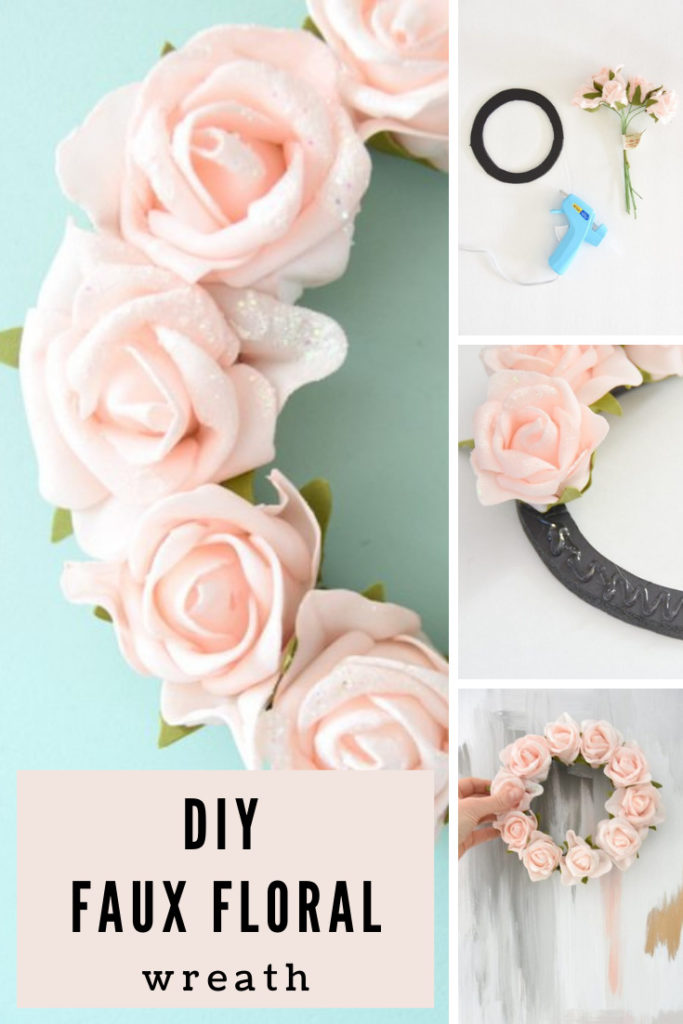collage images showing how to put together a floral wreath.