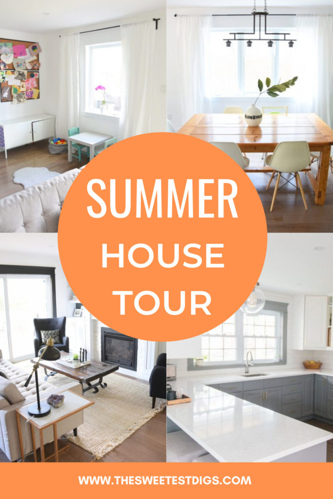 collage of summer house tour.