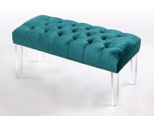 turquoise-upholstered-bench