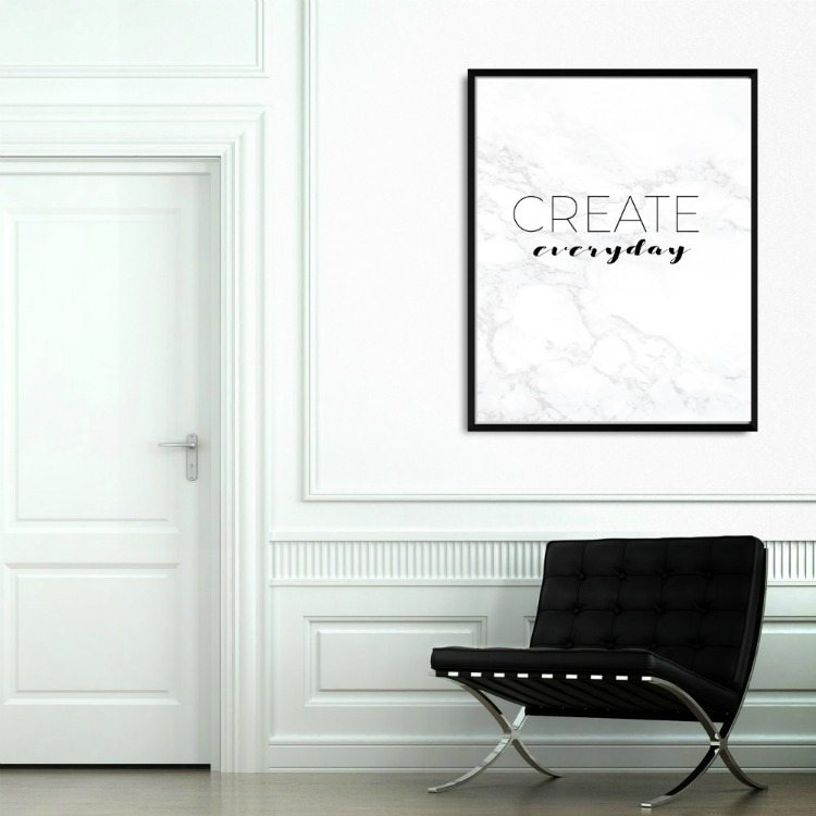 free art printables -interior design of classic white interior with black barcelona chair