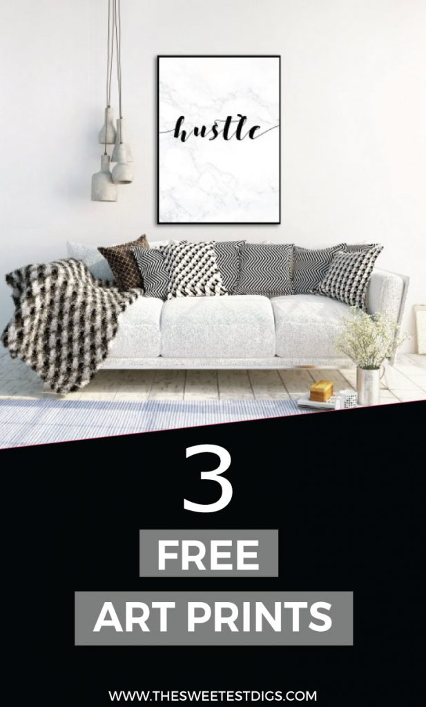 free art printables - Need some DIY artwork for your home? Grab these 3 art printables completely for free!! Marble, black and white, and look amazing framed in an office or anywhere in your house! Three quotes - hustle, create everyday, and DIY projects are my cardio. Instant download and print at home or online. Click through to download!