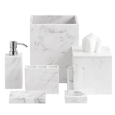 15 budget friendly marble bathroom accessories the for Blue and gold bathroom sets
