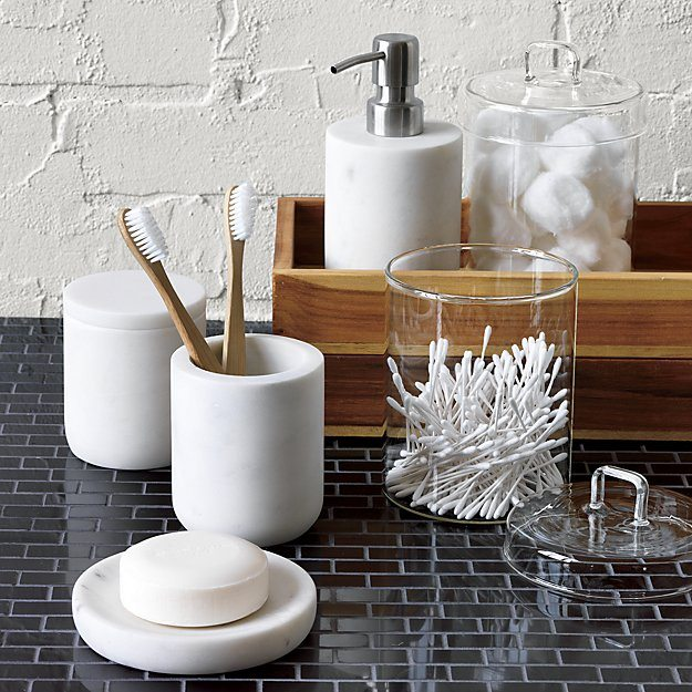 15 budget friendly marble bathroom accessories the for Marble bathroom bin