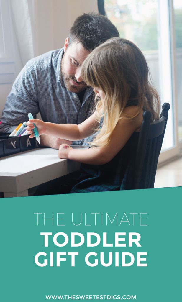 Looking for Toddler Gift Ideas? Check out our list of favourite toddler toys, both purchased and handmade. All budget friendly! Perfect for christmas gifts or birthday gifts. Click through for the full list.