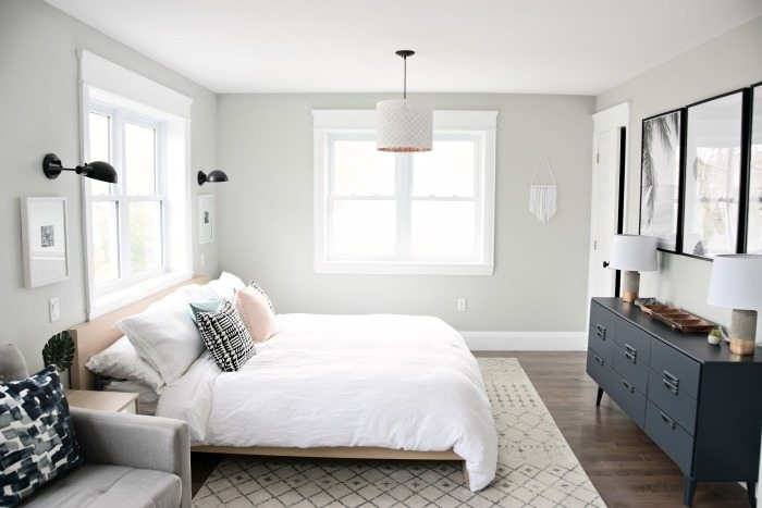white linen duvet covers - A budget-friendly Master Bedroom Makeover. Get this neutral, eclectic, modern bedroom design with the source list and DIY project ideas in the post. Great bedroom decor ideas and tips!