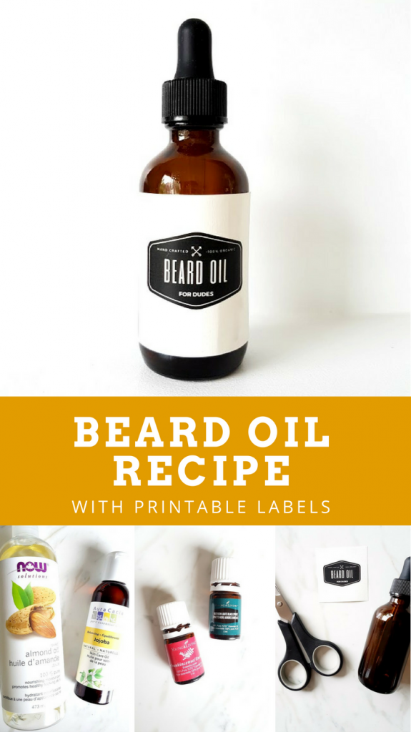 DIY Beard Oil Recipe | Make this handmade beard oil for Father's day or as a homemade gift idea for Dad. Easy to follow recipe using essential oils! Free printable labels are included for download.