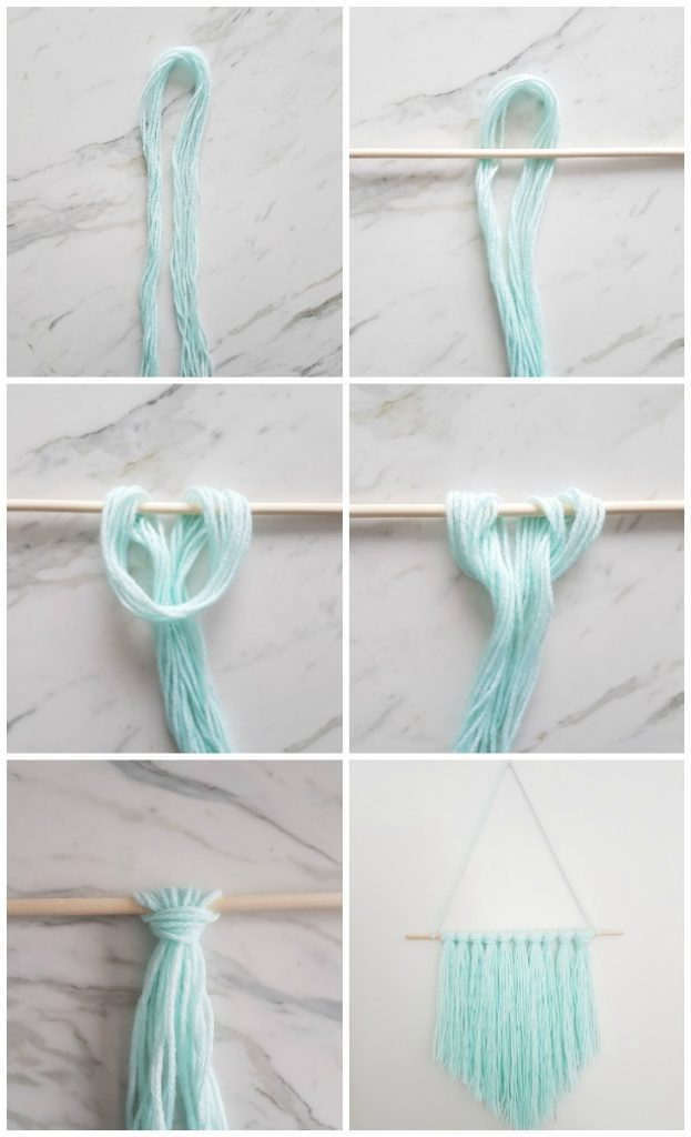 How to make an easy diy wall hanging with yarn the for Easy diy room decor pinterest