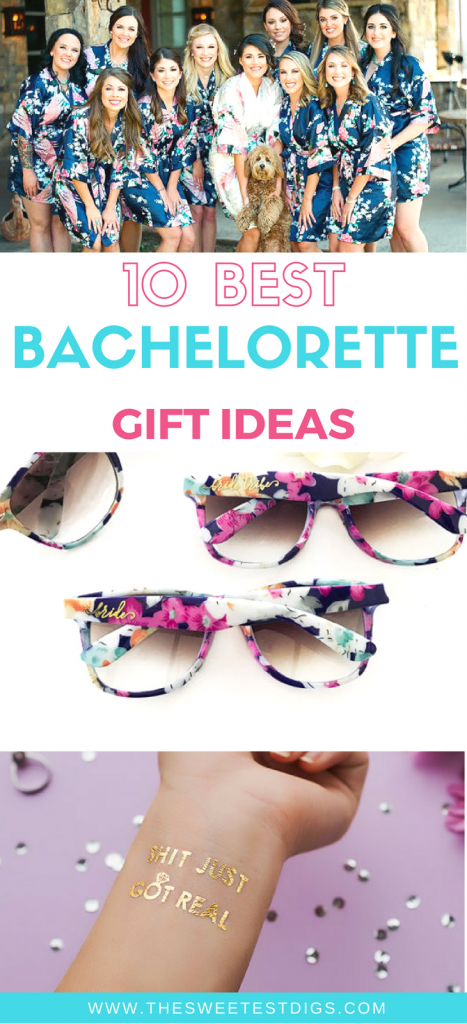 Throw an amazing bachelorette party with these gift ideas. Perfect for bridal party favors too! Includes custom and personalized gifts like waterbottles, sunglasses, and flash tattoos.