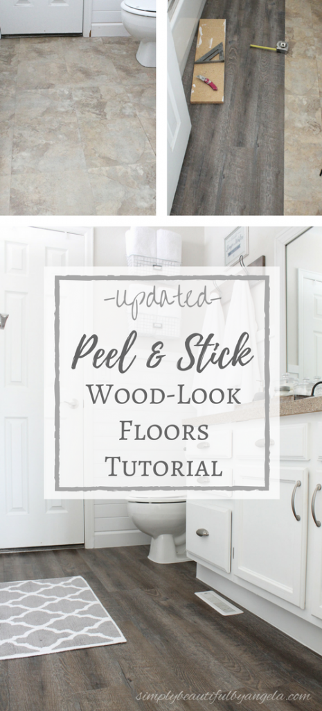 Installing peel and stick tiles that look just like wood flooring! A budget friendly way to cover old floors and get a beautiful farmhouse look.