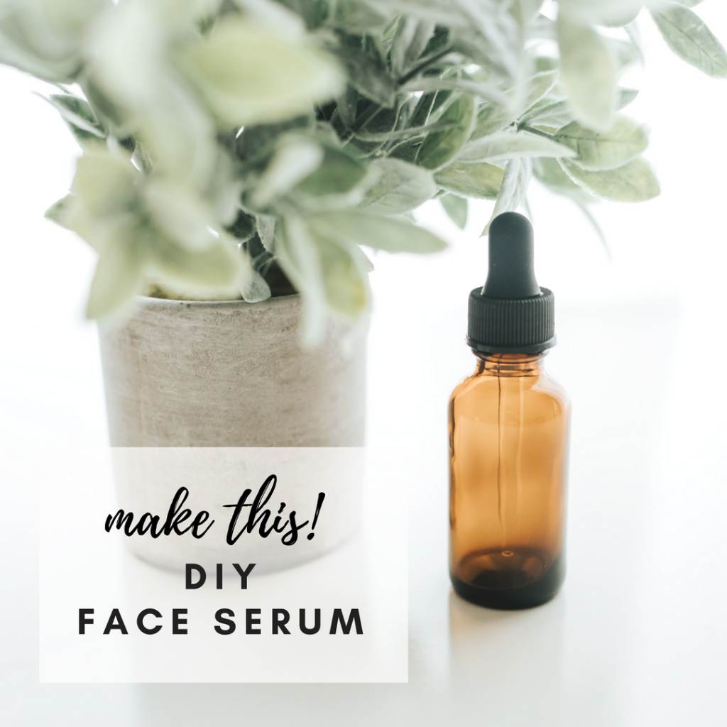 Make this DIY homemade, all natural Face Serum using essential oils, jojoba oil, rosehip oil and vitamin E. Click through for the recipe!