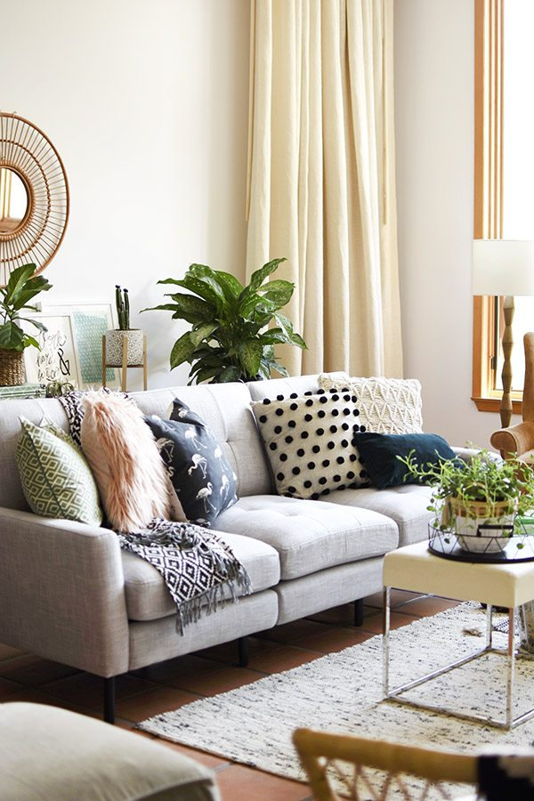 The Burrow sofa in Amy's midcentury modern living room.