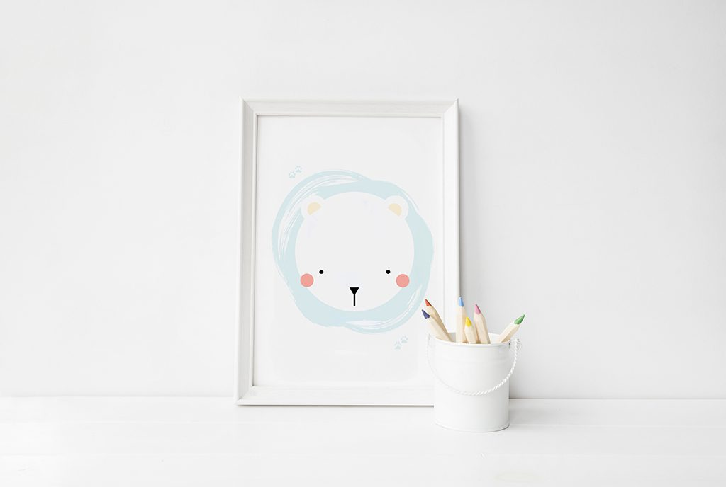 #Polar bear art print for kids room.