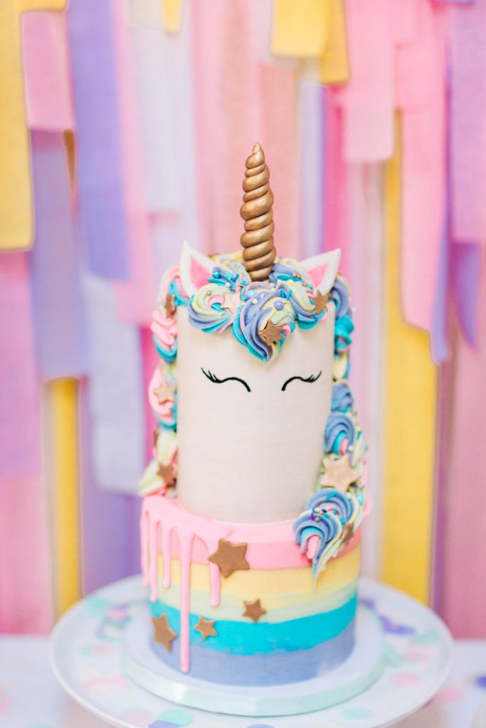 #Unicorn cake for a kids birthday party. So cute!