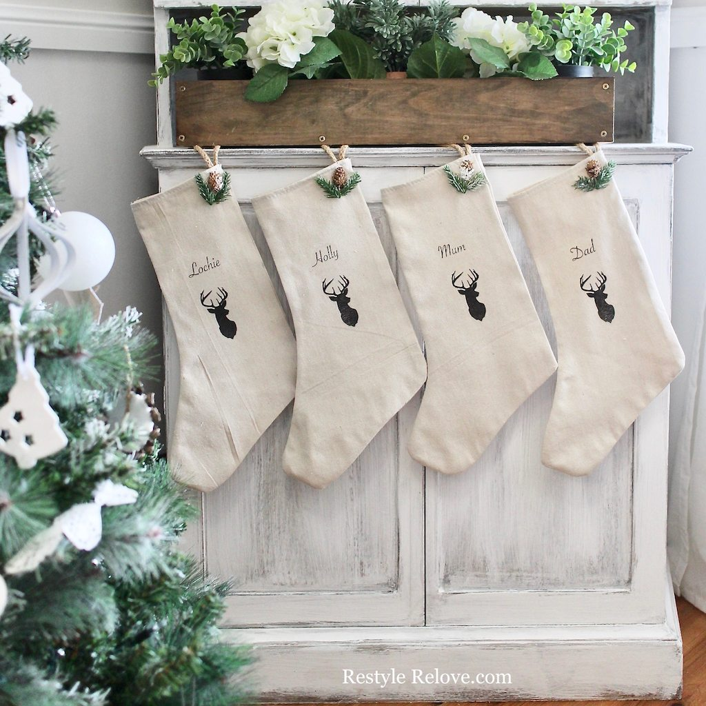 #DIY #Christmas #Stockings made from drop cloth! An easy DIY Tutorial from ReStyle ReLove!