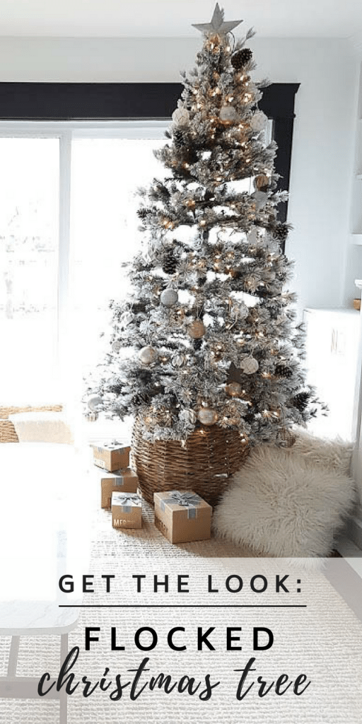 Decorate for the holidays with a #flocked #christmas #tree. Adorned with mixed metal ornaments in rose gold and silver, with neutral accents. Cozy, pretty, and classic decor!