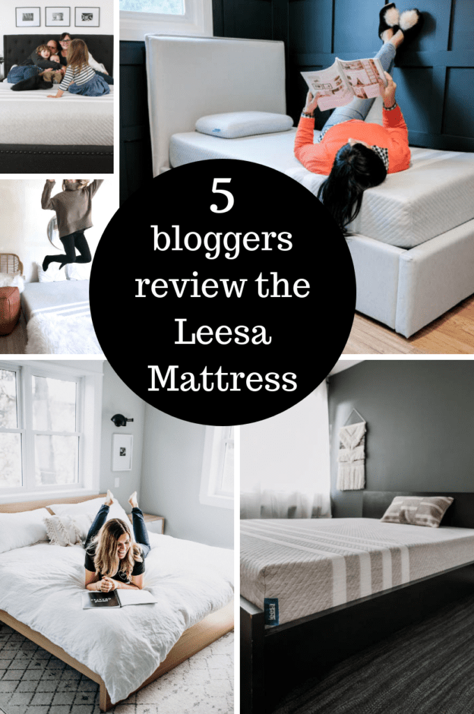 5 Bloggers review the Leesa mattress. This foam mattress that can be delivered to your door is amazing for back pain and getting great sleep!