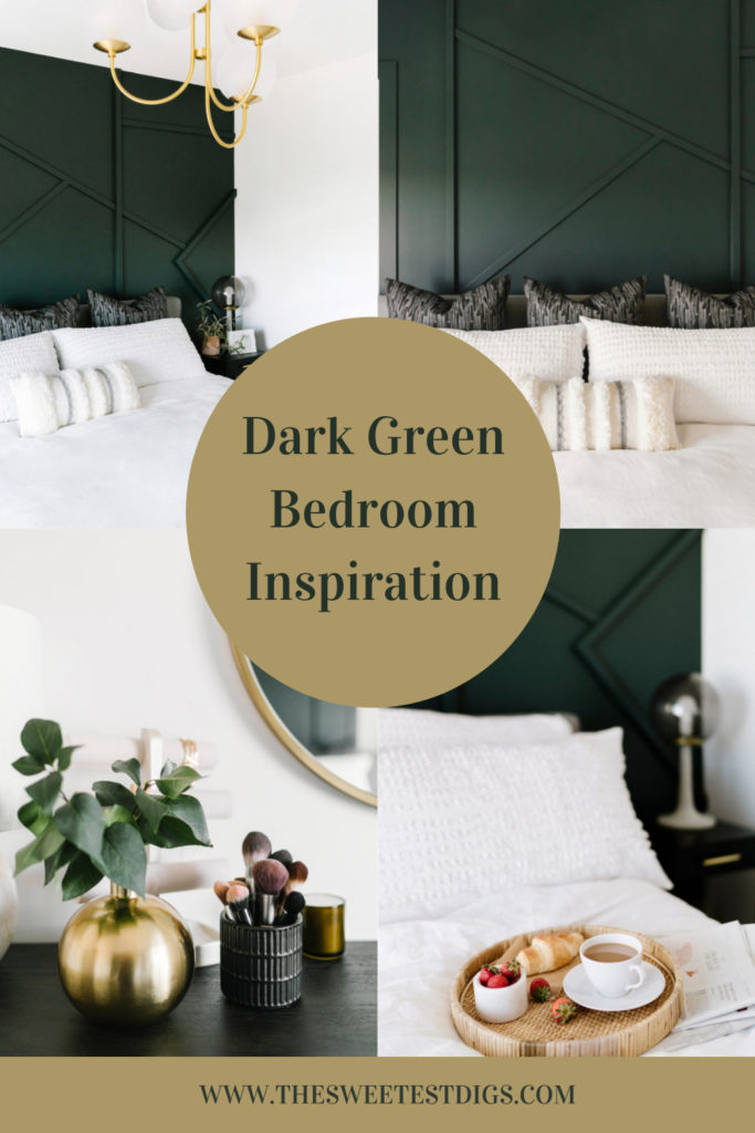 Collage of dark green bedroom ideas with text overlay.