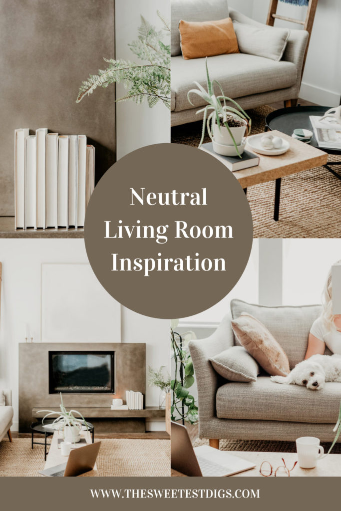 collage of neutral living room decor with text overlay.