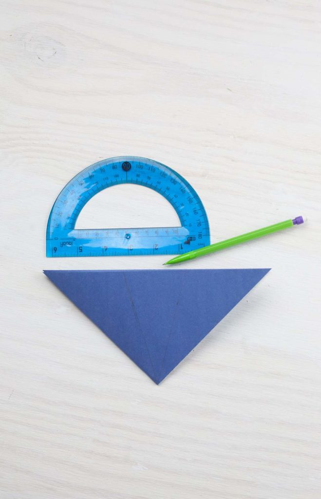 Folded flower and protractor for gift bag