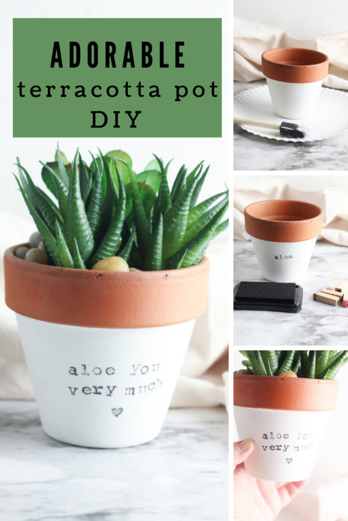Collage of a painted terracotta pot with text overlay