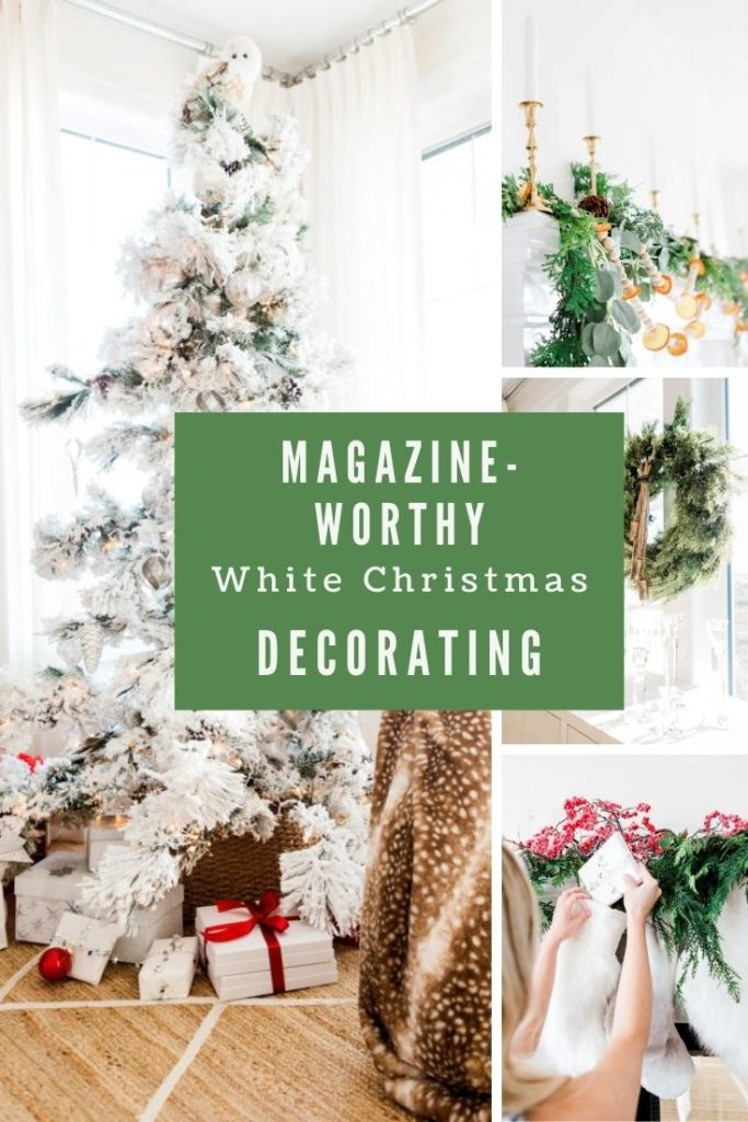 White Christmas decorating ideas put into a collage with text overlay.
