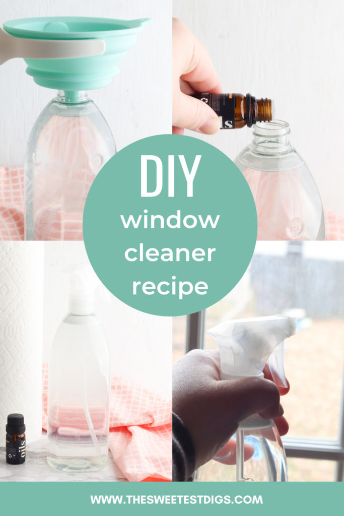 Collage pictures in process ot make diy window cleaner.