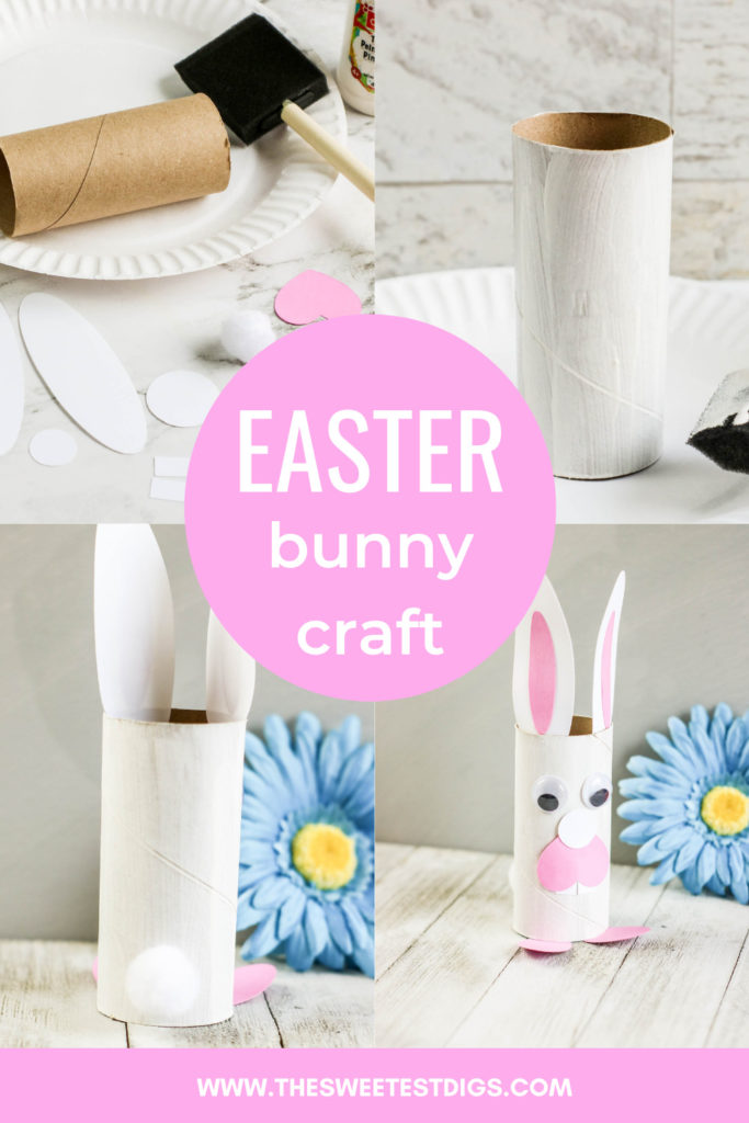 Collage images of a toilet roll bunny craft with text overlay.