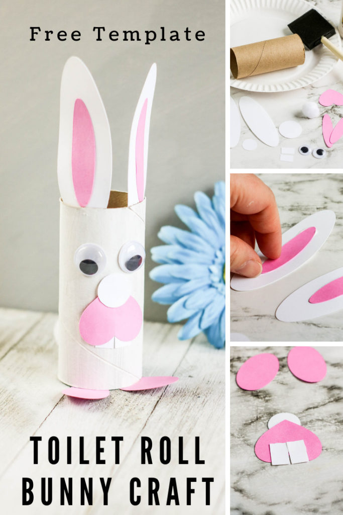 Collage of toilet paper roll craft.