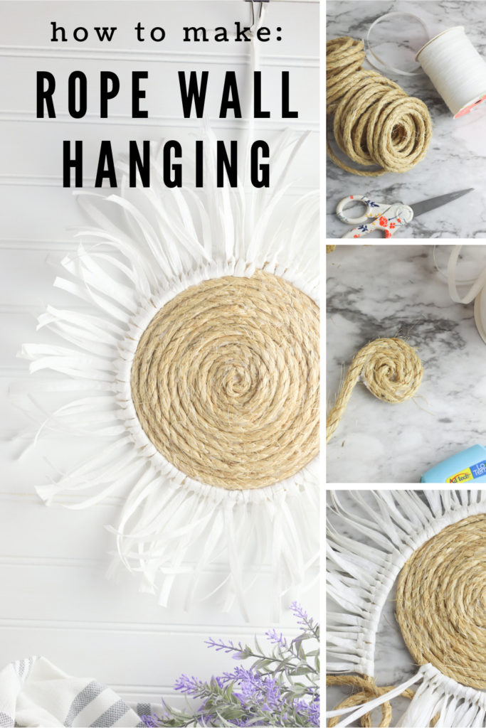 collage images of supplies and instructions showing how to make a rope wall hanging.