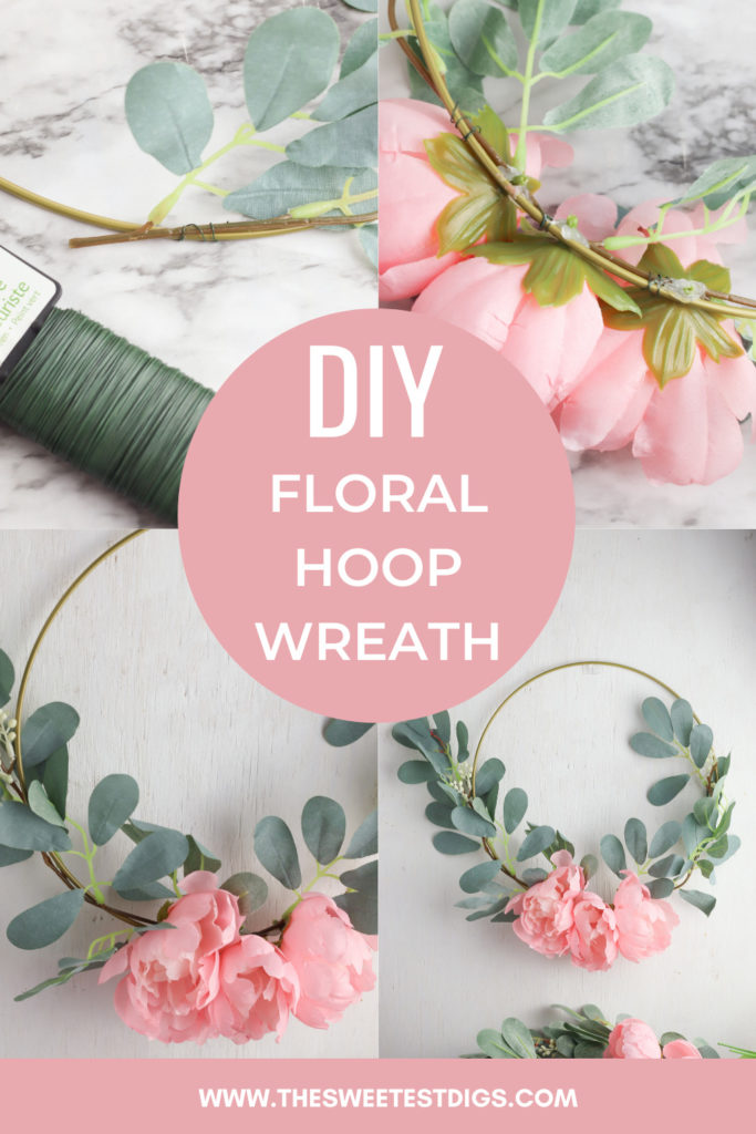 Collage of floral hoop wreath with text overlay.