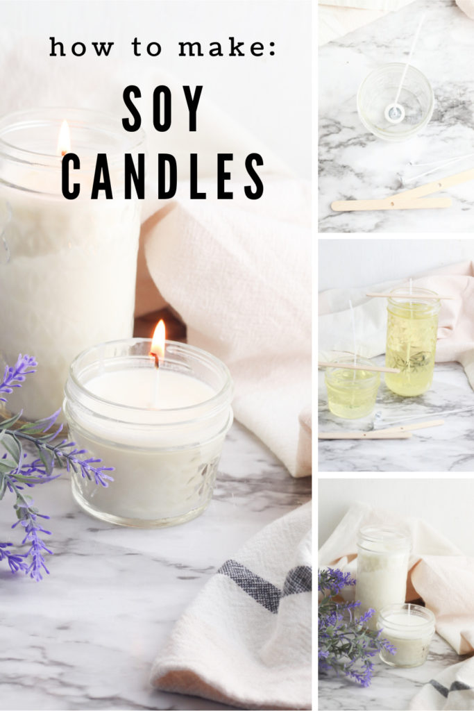 Collage showing process of making soy candles.