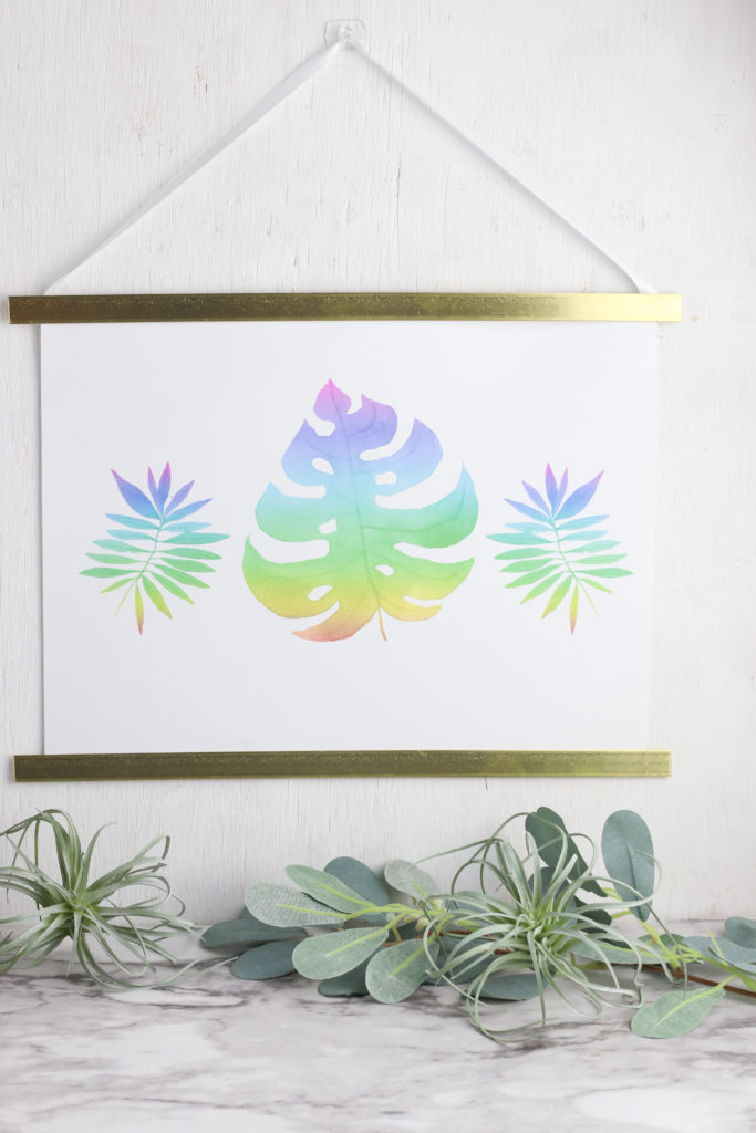 Palm leaf watercolor wall hanging.