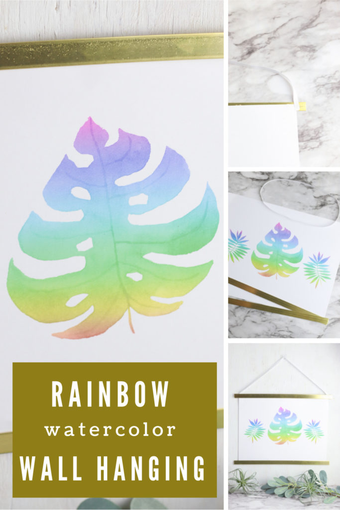 Collage of watercolor wall hanging decor with text overlay.