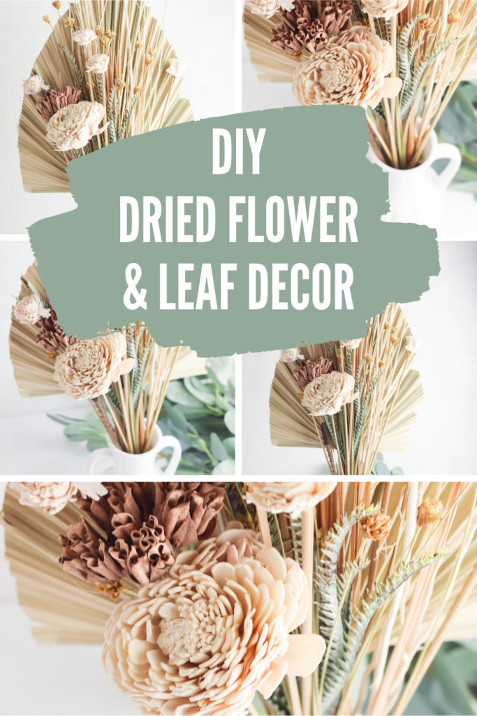 Collage of dried palm leaf and flower arrangements with text overlay.