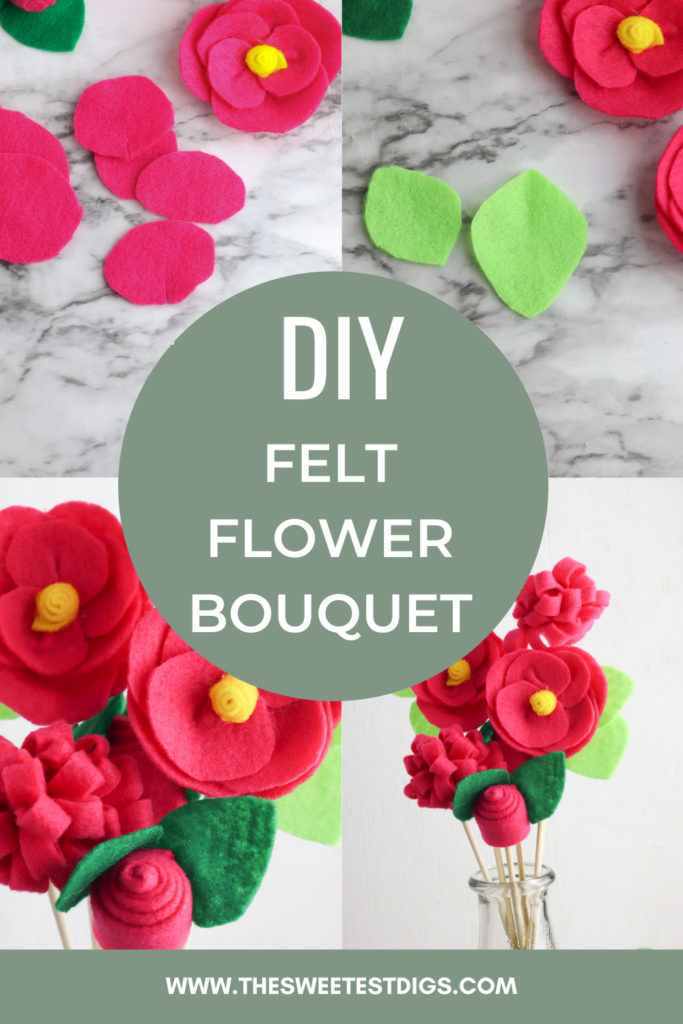 Collage showing how to make a felt flower bouquet with text overlay.