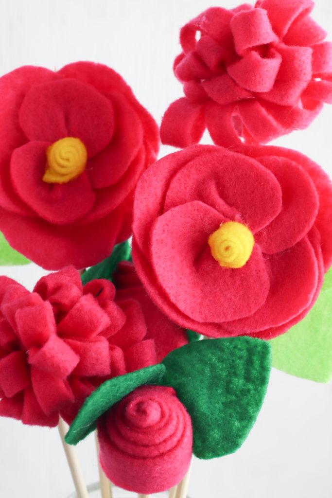 Close up of felt flower bouquet.