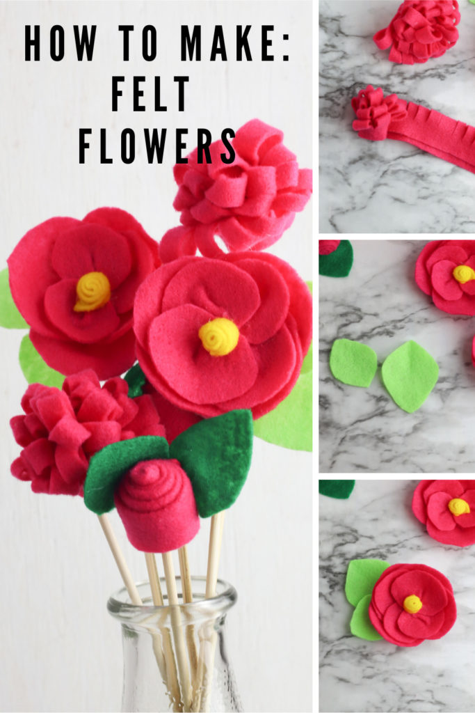 Collage of felt flowers and bouquet with text overlay.