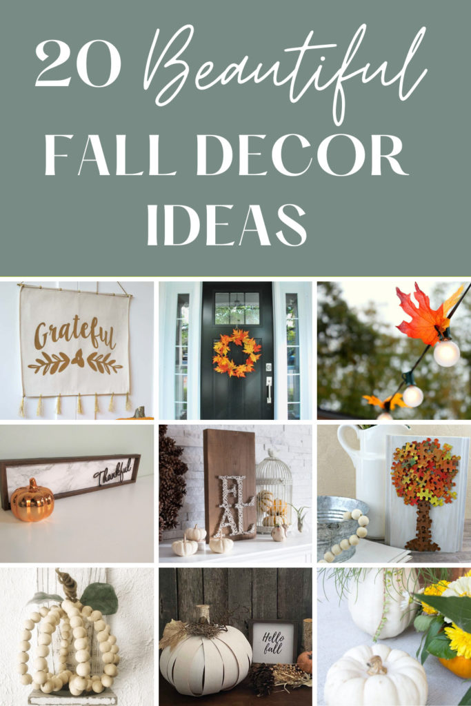 Collage of diy fall decor with text overlay.