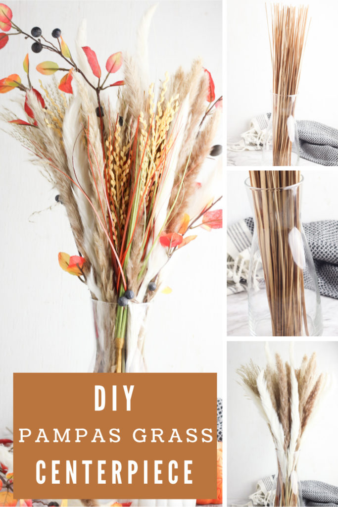 Collage showing how to make a pampas grass arrangement with text overlay.