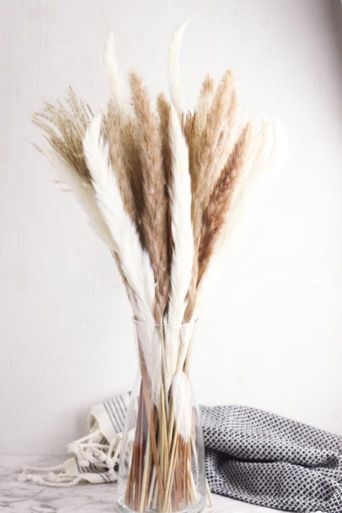 Pampas grass arrangement in a glass vase.